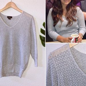 Open knit metallic gray silver sweater Metaphor